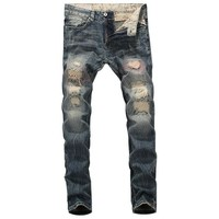 2019 New Designer Mens Jeans Destroyed Ripped Jeans For Men Casual Pants Slim Fit Streetwear Stretch Jeans