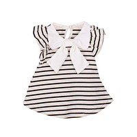 Cute Lovely Baby Girl Dress Summer Girl Cotton Striped Bow Dress Infant Clothing 1 Year Birthday Dress for Girls Clothing LH7s