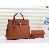 Hermes Fashionable Women Shopping Leather Handbag Bag Shoulder Bag Crossbody Satchel Set Two Piece Brown