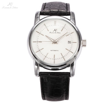 KS Imperial Series White Dial Silver Case Date Display Automatic Analog Leather Band Self Wind Clock Men Mechanical Watch /KS232