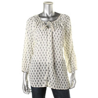 Soft Joie Womens Printed Pleated Blouse