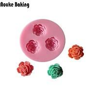 C037 Rose Flower Acrylic Resin Fondant Silicone Molds For Cake Decorating Candy Craft Tools Chocolate Mould Soap Candle Molds