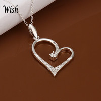 Women's Fashion Gemstone Love Heart Silver Plated Pendant Necklace Jewelry (Color: Silver) = 1841483908