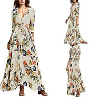 Beach Party Style Maxi Print Women's Floral dress