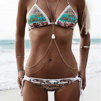 Bikini Set Print Floral Swimsuit For Women