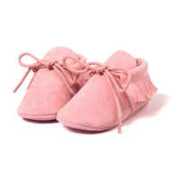 First Walkers Tassel Lace-Up Nubuck Leather Solid Shoes Soft Bottom Prewalkers For Baby Girls 0-18M