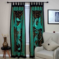 Handmade Celtic Dragon Curtain 100% Cotton Drape Panel Green 44 x 88 inches