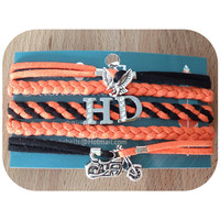 3 Charm Cuff Bracelet Silver charms Eagle, HD, and motorcycle. Harley Davidson Orange and black suede