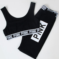 Casual Letter Print Sport Vest Tank Top Cami Pants Trousers Sweatpants Set Two-Piece Sportswear