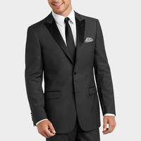 TALLIA CHARCOAL GRAY HERRINGBONE SLIM FIT TUXEDO