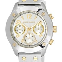 Women's Vince Camuto Multifunction Leather Strap Watch, 42mm - White/ Silver