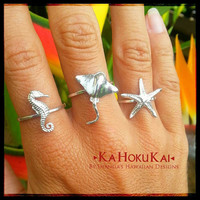 """Sterling Silver """"Under the Sea"""" Creatures, Seahorse ring, Starfish ring, Sting Ray ring"""