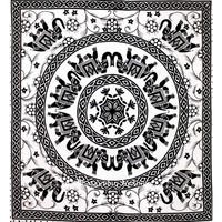 Beautiful Black and White Good Luck Elephant Mandala Tapestries From India