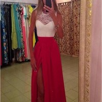 New Women Red-White Patchwork Lace Hollow-out Pleated Irregular 21 Birthday Homecoming Prom Maxi Dress