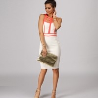 White Piping Hot Midi Dress