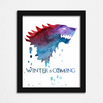 Game of Thrones Printable Poster Game of Thrones Art House Stark Watercolor Wall Art House Warming Gift for Boyfriend Winter is Coming Print
