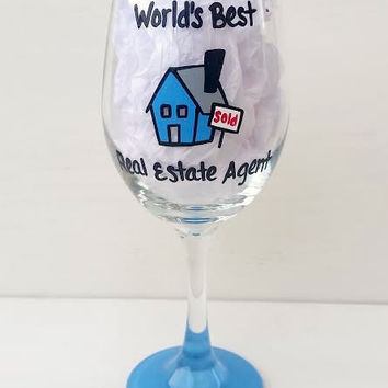 Real Estate Agent hand-painted wine glass
