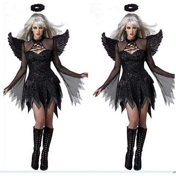 Sexy Dark Angel Set for Women including Costume Adult Halloween Cosplay Party Raven Black Fallen Angel Fancy Dress with Halo & Wing new Macchar Cosplay Catalogue