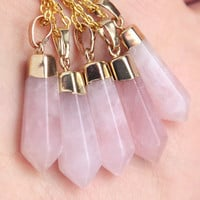 Polished Gold Dipped Rose Quartz Crystal Point Necklace - Pink Pastel Raw Smooth Spike Gold Plated Chain, Natural Healing Cloudy Layering