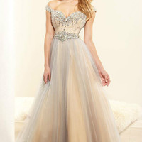 New Off Shoulder Evening Dresses Beaded Tulle Party Formal Prom Gown Size All
