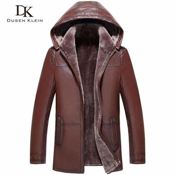 Mens Wool Leather Hooded Shearling Jacket Sheepskin Wool Liner Mens Coats