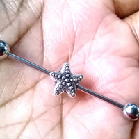 Sale......Starfish 14g, 14 gauge body jewelry, industrial barbell piercings earring.....10 colors to choose from