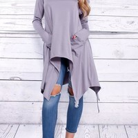 New Purple Pockets Irregular Hooded Long Sleeve Going out Fashion T-Shirt