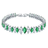 Onefeart White Gold Plated Bracelet for Women Girls Colorful Zircon Ladies Style Ellipse Design 17CM