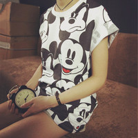 Cartoon Printed Short Sleeves Loose Shirt