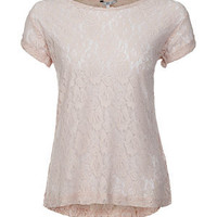 Nude Pink Lace T-Shirt