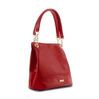 Bliss Shoulder Bag w. Partial Chain Handles - Red
