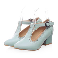 Small Pointed Buckle Thick Heel Thin Shoes  blue