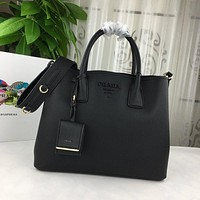 prada women leather shoulder bags satchel tote bag handbag shopping leather tote crossbody 196