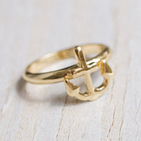 Gold Anchor Ring - Nautical Inspired Ring