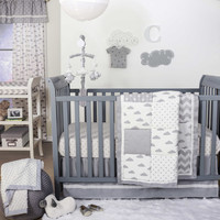 The Peanut Shell® Cloud Patchwork 4-Piece Crib Set in Grey