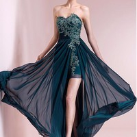 [125.99] Exquisite Chiffon Sweetheart Neckline Hi-lo A-line Evening Dresses With Beaded Lace Appliques - dressilyme.com