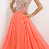 (PRE-ORDER) Blush 2014 Prom Dresses - Coral Pink Triangle Stone & Chiffon Strapless Sweetheart Prom Dress