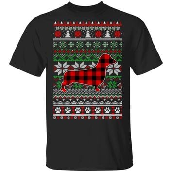Dachshund Red Plaid Ugly Christmas Sweater Gifts
