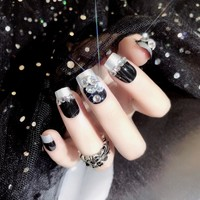 24pcs Fake Nails With Rhinestone Press On Aritifical Finger Tips With 2g Glue Black Color False Nail Tips
