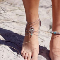 Ethnic Bohemia Style Green Turquoise Beads Anklet Foot Jewelry Multilayer