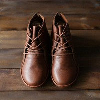 Handmade Brown Retro Leather Oxford Shoes for Wome Flat Ankle Boots Lace Up Short Booties