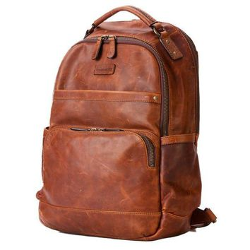 Tan All-Leather Classic Backpack by Frye