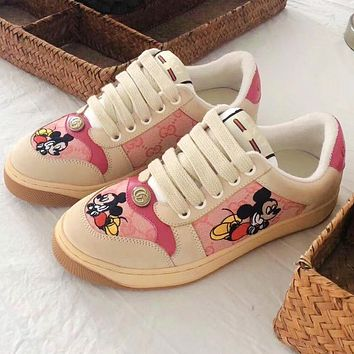 Vsgirlss 2020 Gucci Mickey Mouse Dirty Shoes Pink Beige