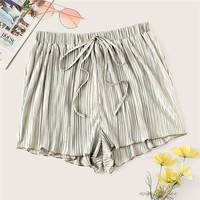 Boho Drawstring Waist Pleated Loose Shorts Women Mid Waist Ruffle Hem Solid Beach Style Casual Shorts