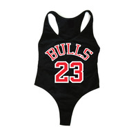 BULLS  23 Black Bodysuit