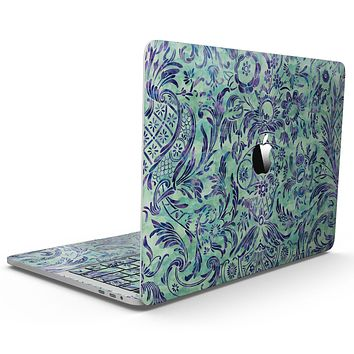 Blue and Green Damask Watercolor Pattern - MacBook Pro with Touch Bar Skin Kit