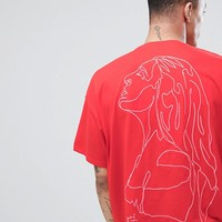 ASOS DESIGN oversized t-shirt with line drawing woman embroidery at asos.com