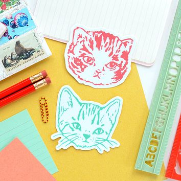Cute Kitty Cat Stickers | Premium Die Cut Vinyl in Red or Green | 2.5 x 3 inches