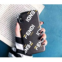 Fendi tide brand leather simple letter print iPhoneXSMax phone case Black