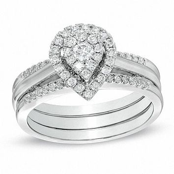 Diamond Cluster Pear-Shaped Halo Bridal Engagement Ring Set in 14K White Gold
